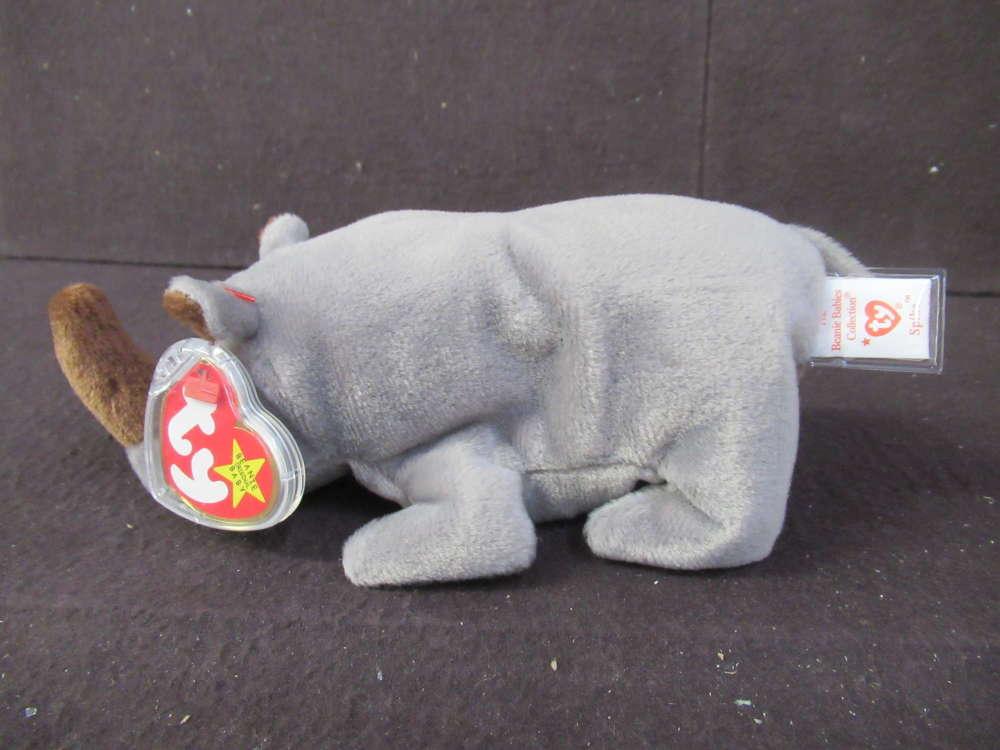 TY Beanie Baby Spike Rhino New Plush Rhinoceros Toy Retired Rare PE Pellets NWT