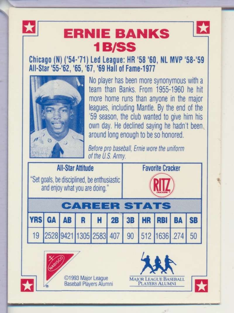 1993 Nabisco All Star Autographs Ernie Banks Signed Auto W